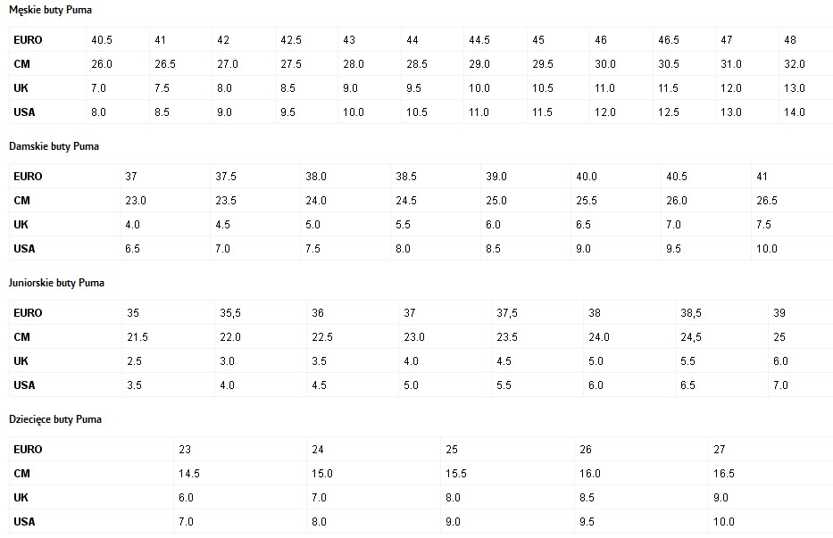 0b7adcc4a4abf Tabela rozmiarów butów sportowych, producentów jakie posiadamy na ...