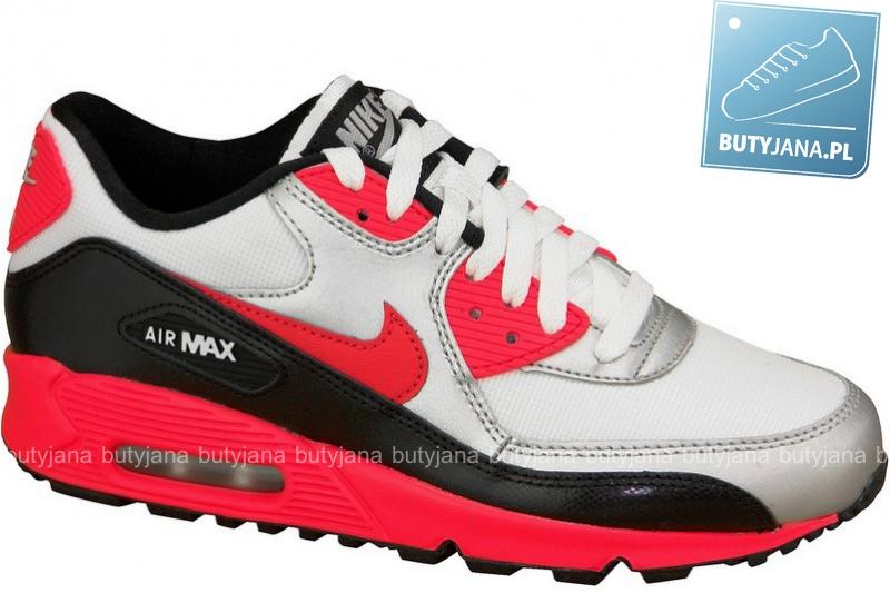 Nike Air Max 90 Gs 307793-154 czerwono czarno srebrne