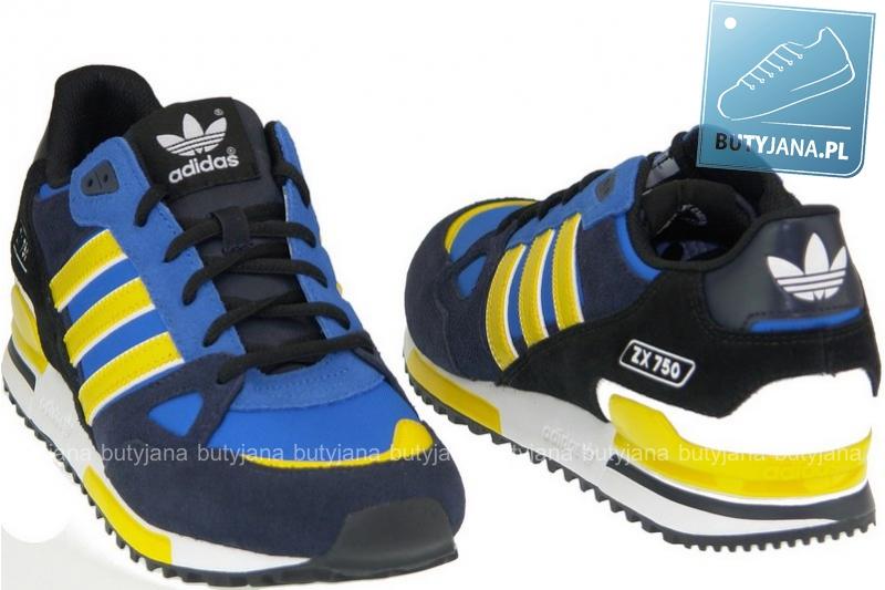 adidas zx 750 czarno niebiesko żółte