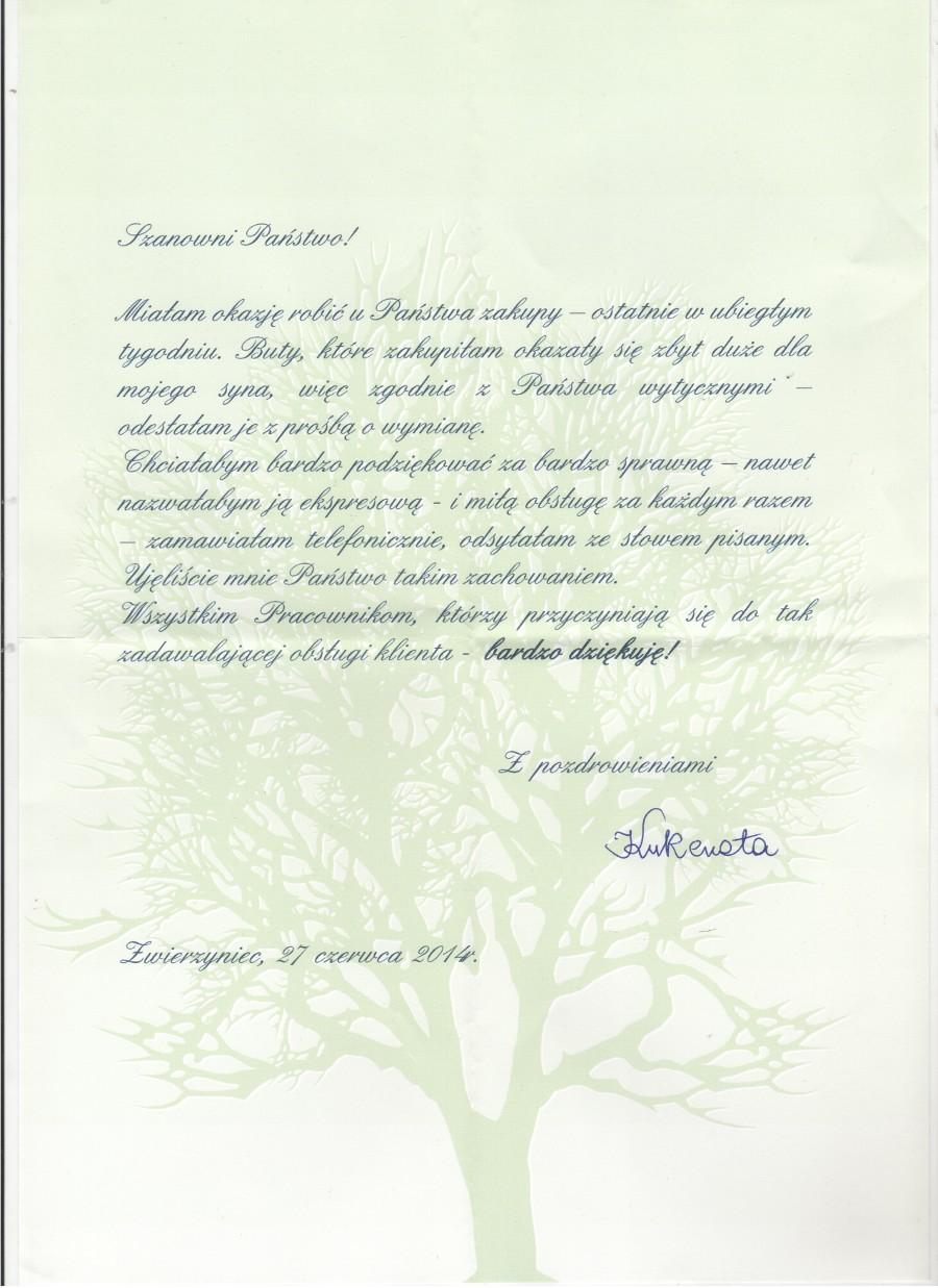 List od Pani renaty z opinią na temat sklepu Butyjana.pl