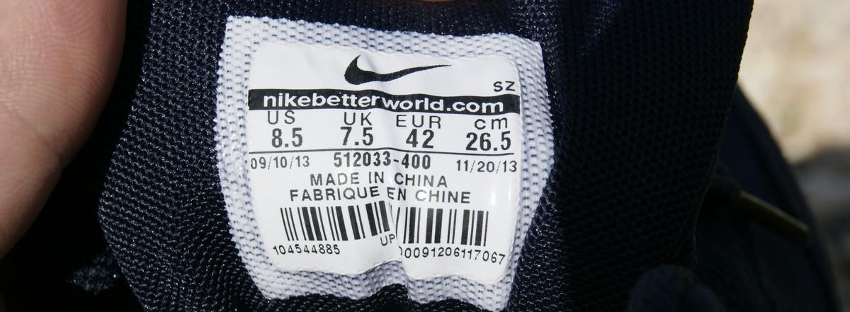 metka made in china w butach nike
