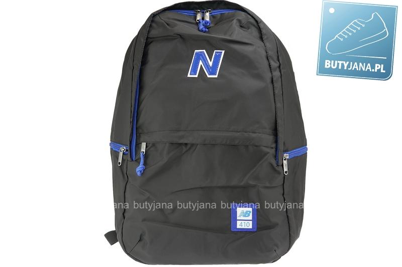 czarny plecak new balance z niebieksim logo nb7616