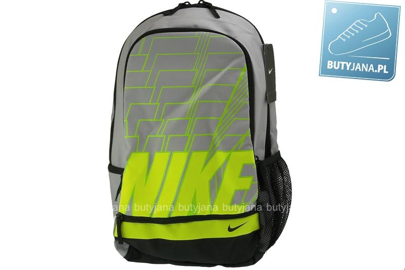 jasno szary plecak nike z jasno zielonym napisem ba4863-011