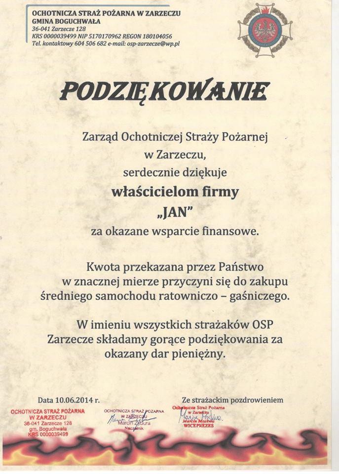 podziękowania dla butyjana.pl od straży pożarnej