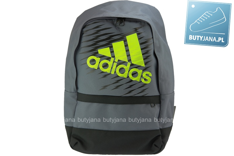 szary plecak szkolny z zielonym logo