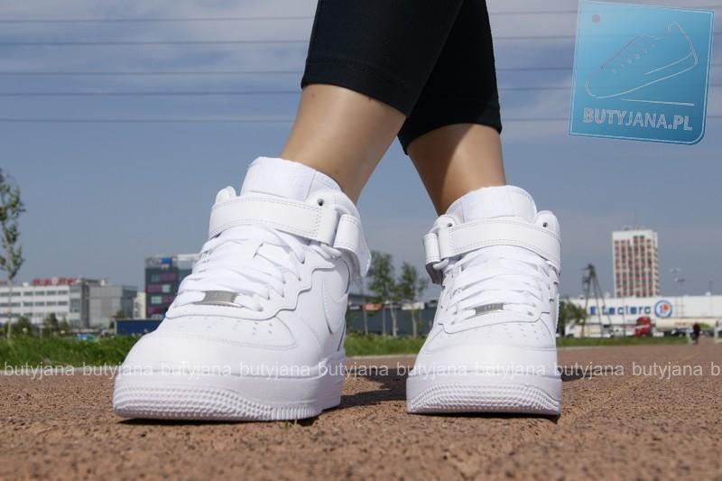 nike air for 1 mid damskie białe na nogach