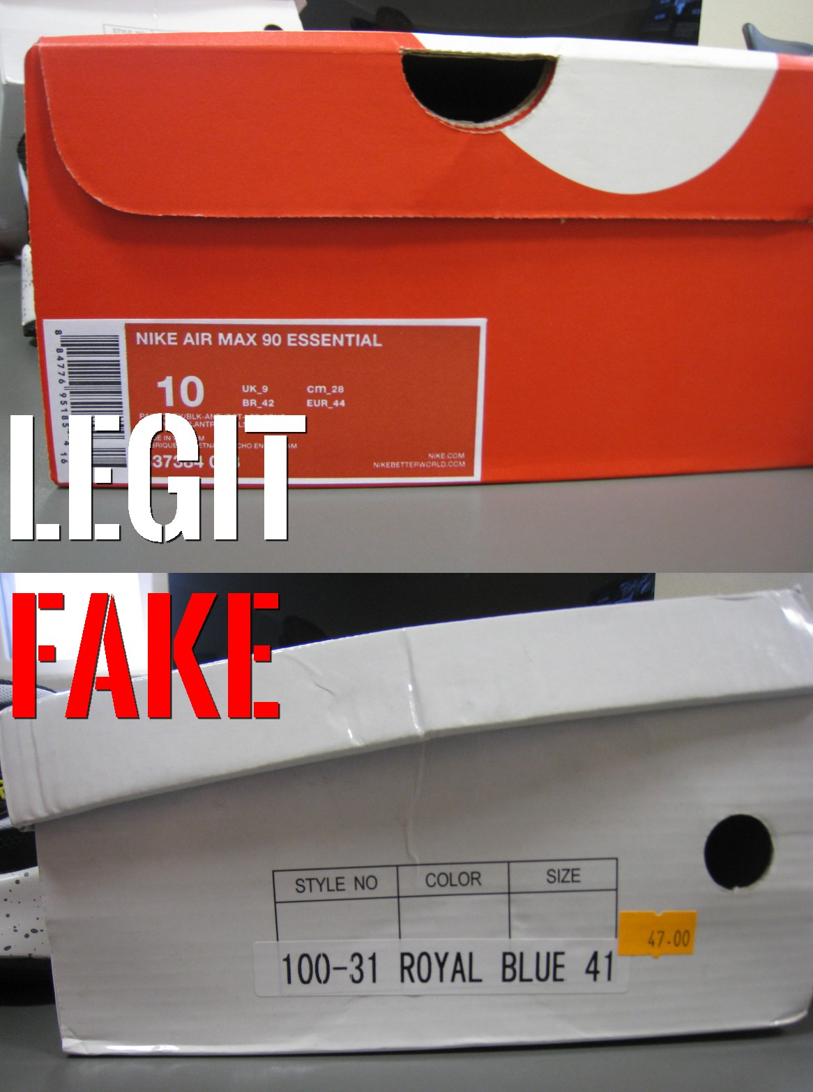 podróbka Nike Air Max 90 etykieta na pudełku