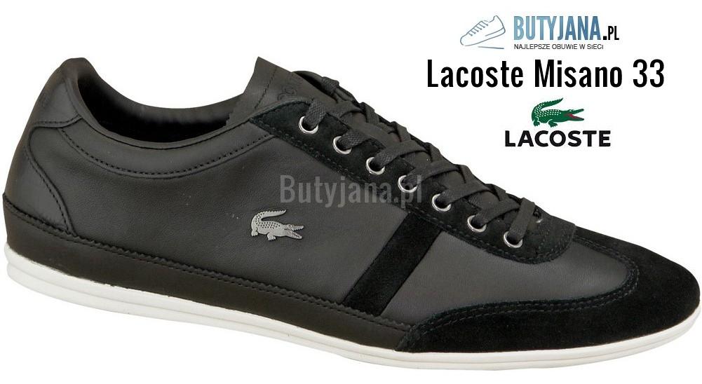 Buty Lacoste Misano 33 czarne skórzane - męskie