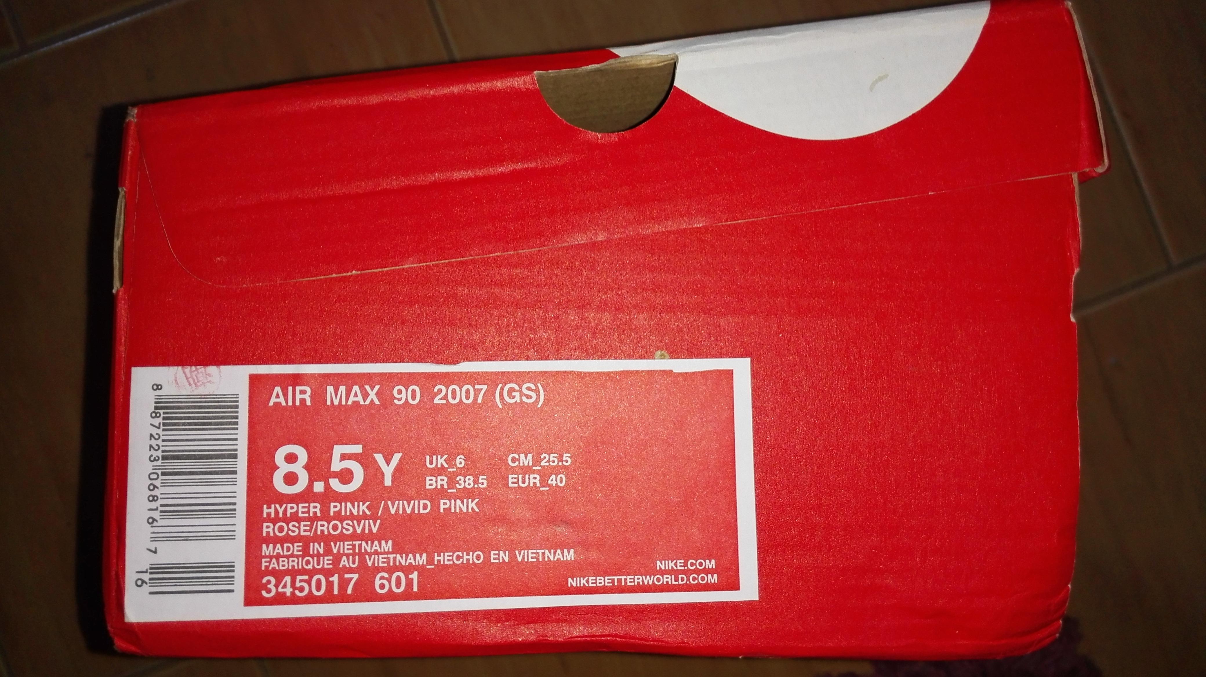 "Nike Air Max 90 2007 GS 345017-601""Hyper Pink"" pudełko"