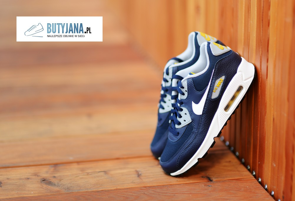 Nike Air Max 90 Gs 307793-417 Obsidian White - Wolf Grey - buty damskie