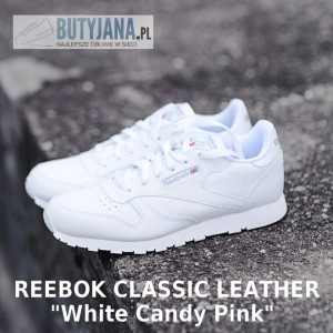"Unbox damskie Reebok Classic Leather 50151 ""White / Candy Pink / Pink"""