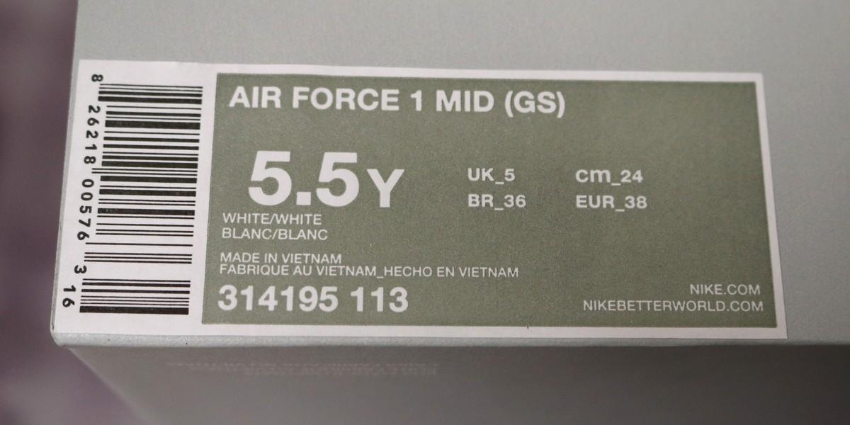 Oryginalna etykieta Nike Air Force 1 Białe Damskie