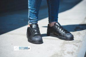 adidas superstar czarne damskie - junior na nodze - sklep butyjana