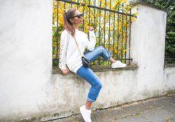 buty asics damskie białe outfit